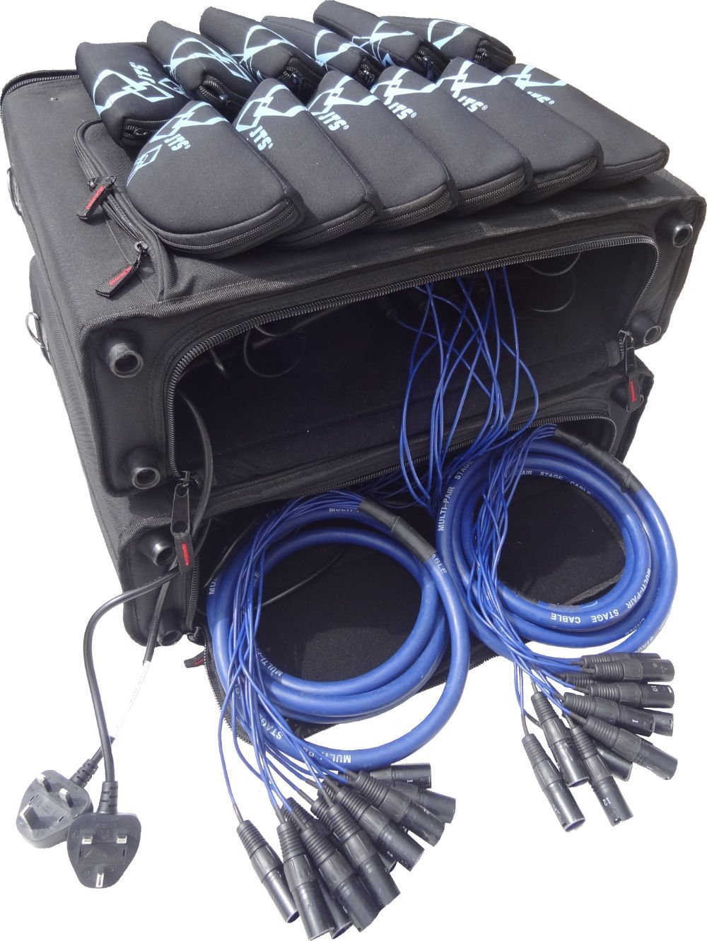 Sound Hire 24 way rack of JTS R-4 radio mic package with cables and transmitter packs